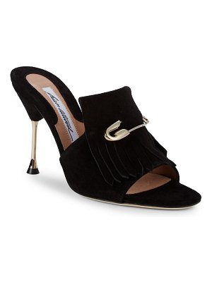 Brian Atwood Sandy Fringed Suede Open-Toe Mules