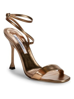 Brian Atwood Sienna Metallic-Leather Ankle Wrap Sandals/3""