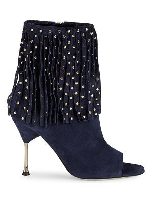 Brian Atwood Sophia Studded & Fringed Suede Booties