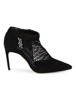 Brian Atwood Vain Suede Fishnet High-Heel Ankle Boots