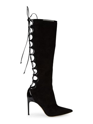 Brian Atwood Vixen Suede Lace-Back Boots