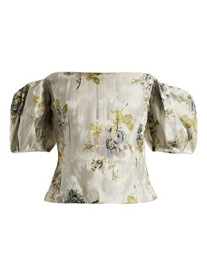 Brock Collection Boie Itoh peony-print silk-jacquard corset top