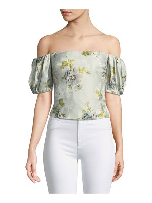 Brock Collection Boie Off-the-Shoulder Peony Silk Jacquard Corset Top