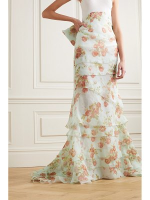 Brock Collection bow-detailed tiered floral-print silk-organza maxi skirt