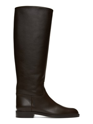 Brock Collection brown flat riding boots