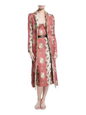 Brock Collection Carolyn Floral-Wallpaper Jacquard Belted Fitted Coat w/ Raw Edges