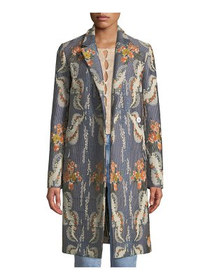 Brock Collection Chandler Notched-Collar Striped Floral-Jacquard Coat