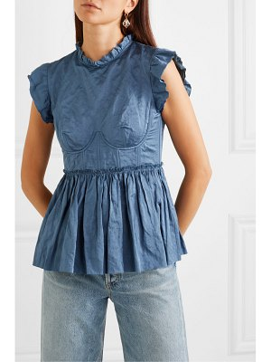 Brock Collection crinkled-twill peplum bustier top