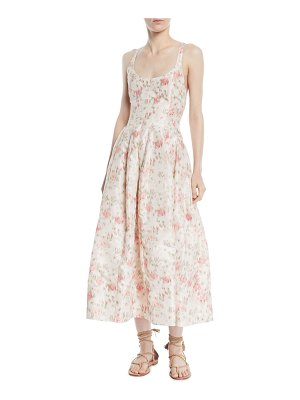 Brock Collection Daphne Scoop-Neck Sleeveless Cherry Blossom-Print Long Dress