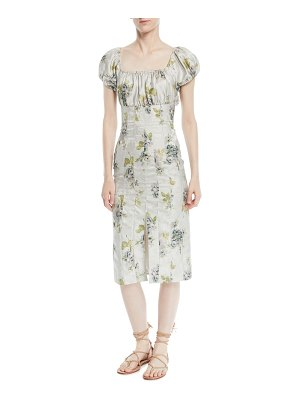 Brock Collection Dayna Short-Sleeve Peony Floral-Jacquard Sheath Dress