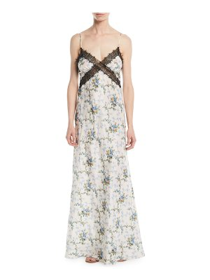 Brock Collection Donnie V-Neck Rose de Chine Taffeta Silk Evening Gown w/ Lace Insets