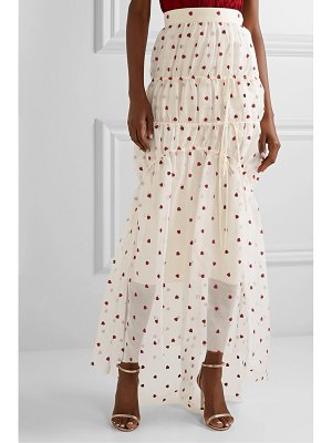Brock Collection embroidered tiered silk-blend organza maxi skirt
