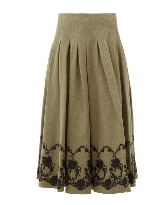 Brock Collection floral-embroidered tweed midi skirt