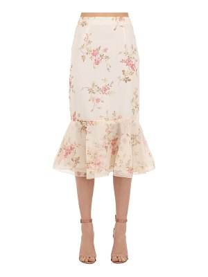 Brock Collection Floral printed silk organza skirt