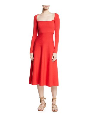Brock Collection Kimmie Square-Neck Long-Sleeve Fit-and-Flare Knit Dress