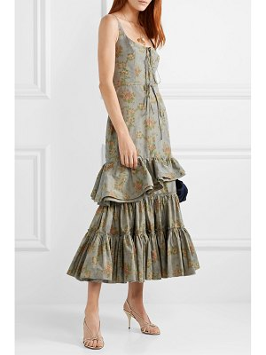 Brock Collection onilde tiered floral-print cotton-blend poplin maxi dress