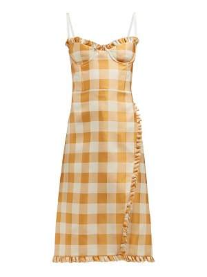 Brock Collection ossana ruffle trimmed checked dress