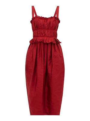 Brock Collection palmira ruched crinkle satin midi dress