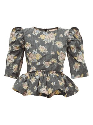Brock Collection peplum-hem floral-jacquard top