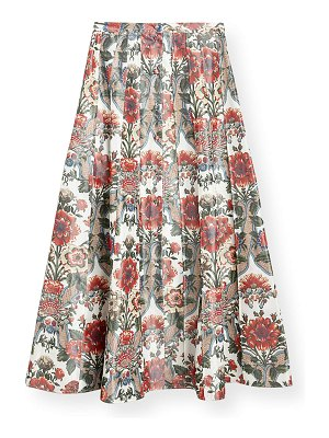 Brock Collection Pleated Floral-Print Cotton Midi Skirt