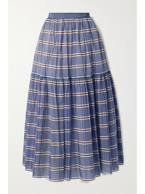 Brock Collection striped cotton and silk-blend organza midi skirt