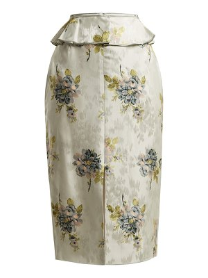 Brock Collection Sylvi floral silk-jacquard peplum skirt