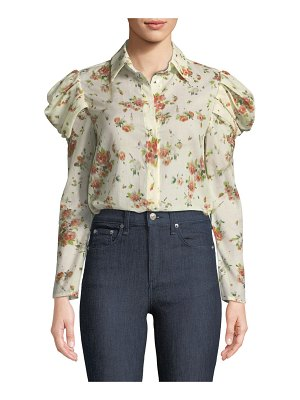 Brock Collection Tanner Button-Front Voluminous-Sleeve Rose-Print Cotton Blouse