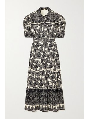 Brock Collection teodosia pleated printed linen and cotton-blend shirt dress