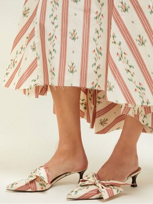 Brock Collection x tabitha simmons bow floral print satin mules
