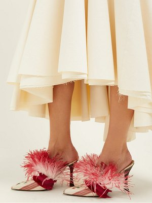 Brock Collection x tabitha simmons feather & satin mules