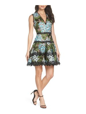 Bronx and Banco blue cherry hydrangea embroidered fit & flare dress