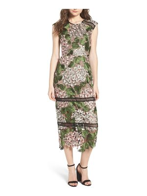 Bronx and Banco cherry hydrangea lace dress