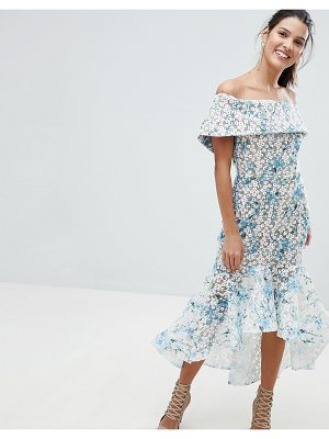 Bronx and Banco Embroidered Dipped Hem Midi Dress