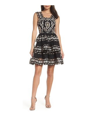 Bronx and Banco ethnos lace fit & flare dress