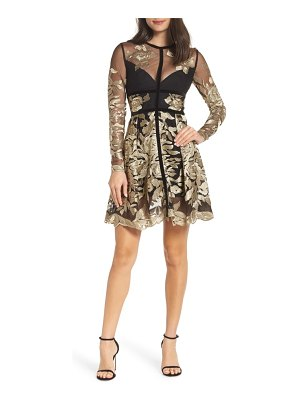Bronx and Banco golden rose embroidered minidress