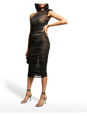 Bronx and Banco Maya One-Shoulder Ruched Dress w/ Nude Lining