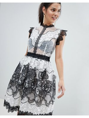 Bronx and Banco Monochrome Lace Mini Dress