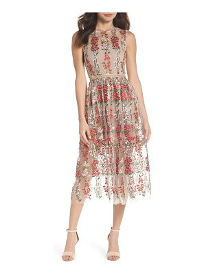 Bronx and Banco poppy embroidered tulle tea length dress