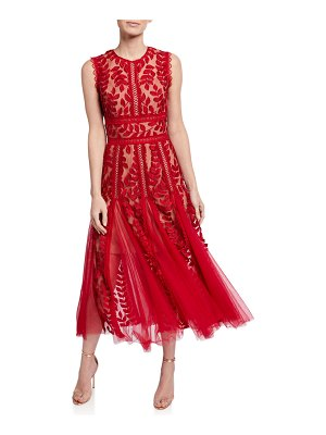 Bronx and Banco Saba Leaf Embroidered Sleeveless Midi Dress w/ Godet Detail
