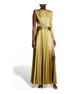 Bronx and Banco Starlight Olive Asymmetric Gown