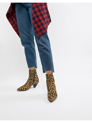 Bronx leopard print pony pointed heeled ankle boots-multi
