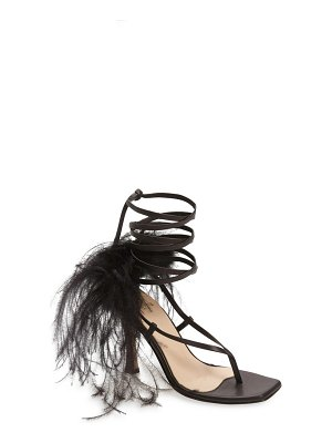 Brother Vellies feather ankle tie sandal