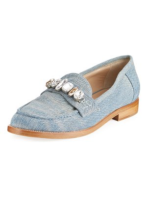 Brother Vellies Jewel-Embellished Denim Loafer