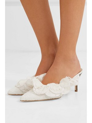Brother Vellies stell ruffled corded lace mules