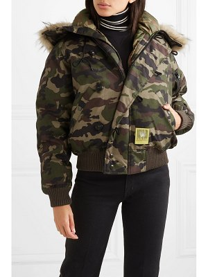 Brumal hooded faux fur-trimmed camouflage-print shell down jacket