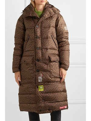 Brumal r13 hooded quilted leopard-print shell down coat