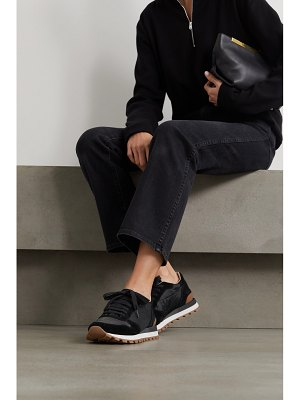 Brunello Cucinelli bead-embellished nylon and suede sneakers