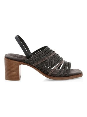 Brunello Cucinelli beaded multi-strap block heel slingback sandals