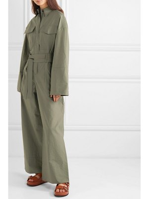 Brunello Cucinelli belted bead-embellished crinkled cotton-blend jumpsuit