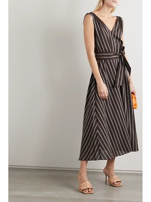 Brunello Cucinelli belted bead-embellished striped gauze maxi dress